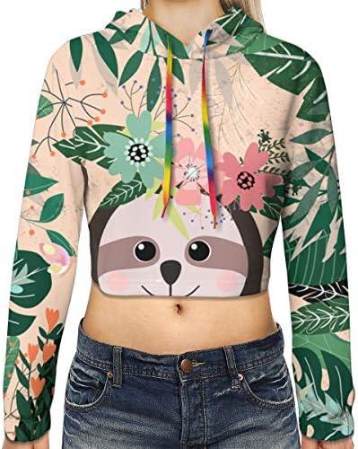 植物熱帯緑の休暇ナマケグマ動物スポーツジムオフィス学校の野生生物動物自然女子印刷長袖クロップトップトレーナーパーカー