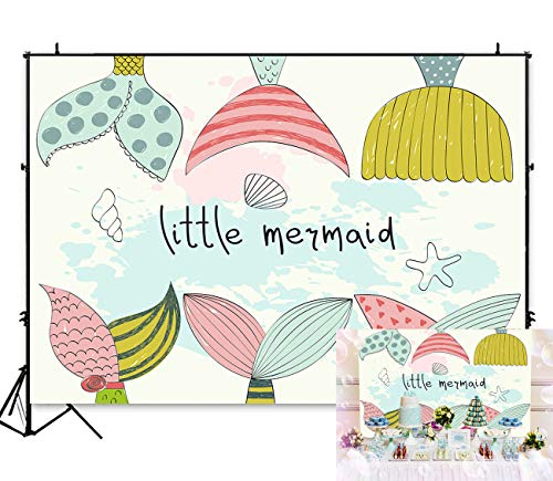 Art Studio 5x3ft Cute Little Mermaid Themed Backdrop Girl Princess Baby Shower Birthday Party Photography Photo Background Blue Sea Cartoon Watercolor Seashell Photo Booth Studio Props Banner - Scale Series Tables Theme