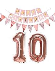10 ballonnen nummer 10, luchtballon 10 verjaardag meisjes folieballon 10 jaar vrouwen Happy Birthday slinger banner + wimpelketting, 81 cm cijfers ballonnen 10 decoratie voor 10e jaar verjaardag decoratie meisje