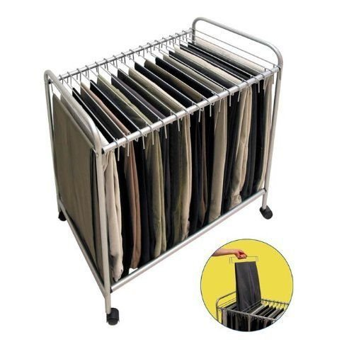 Rolling Pants Trolley Hanger Slacks Organizer Rack