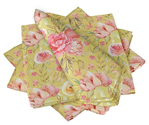 S4Sassy Yellow Leaves & Peony Floral Printed Napkin Basic Everyday Use Table Linen Dinning Set 22 x 22(Pack of 6) ()