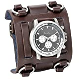 JewelryWe Fathers Day Gifts Hip-hop Gothic Leathernk Style Mens Wrist Watch 74MM Wide Brown Leather Cuff Watches