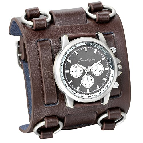 Dial Brown Leather Cuff (JewelryWe Fathers Day Gifts Hip-hop Gothic Leathernk Style Mens Wrist Watch 74MM Wide Brown Leather Cuff Watches)
