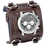 JewelryWe Men's Wide Leather Cuff Bracelet Watch Roman Numerals Dials Brown Wrist Watch Valentine's Day Gift