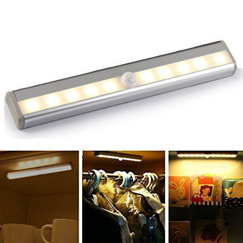 GEREE 10 LED PIR Sensor Closet Light , Portable Wireless Wall Stairs Night Light/Drawer/the wardrobe Light with Magnetic Strip Stick-on Anywhere Battery Operated , Warm (Above Sink Lighting)