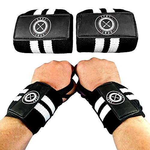 Spot Lion Fitness Wrist Wraps (Professional Quality) Powerlifting, Bodybuilding, Weight Lifting Wrist Supports for Weight Training - Black with White - Wrist Training Wrap