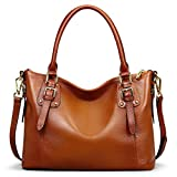 BIG SALE-AINIMOER Women's Large Genuine Leather Vintage Shoulder Handbags Ladies Top-handle Purse Cross Body Bag(Sorrel-SN)