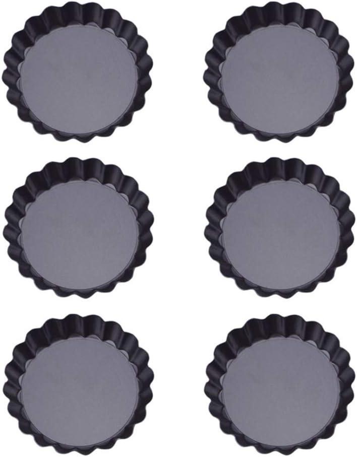 Aweisile moules /à tartelettes 6 Pi/èces Moulle Tartelettes Moules /à Quiche Antiadh/ésifs Moule /à Tarte avec Base Amovible 4 inch Moule Tarte Plat a Tarte Moules mini Tartelette,10cm