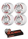 64mm Powell Peralta G Bones Skateboard Wheels with Bones Bearings - 8mm Bones REDS Precision Skate Rated Skateboard Bearings - Bundle of 2 items