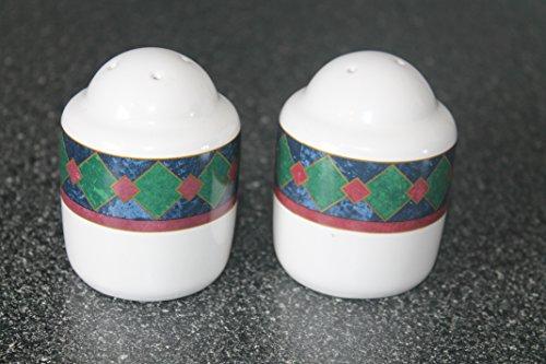 Pfaltzgraff Amalfi Classic Salt and Pepper ShakersStoneware Navy, Burgundy & Dark Green Design MINT Condition