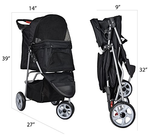VIVO-Three-Wheel-Pet-Stroller-for-Cat-Dog-and-More-Foldable-Carrier-Strolling-Cart-Multiple-Colors-Black