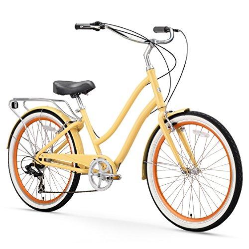 sixthreezero EVRYjourney Womens 7-Speed Step-Through Hybrid Cruiser Bicycle, Cream w/Black Seat/Grips, 26 Wheels/ 17.5 Frame