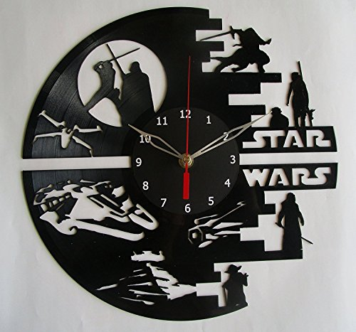 Star War Vinyl Record Designed Wall Clock, Unique Home Room Wall Decor, Best gift for Him or Her, Girlfriend or Boyfriend (Star Wars)