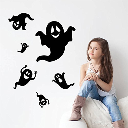 Copter shop 6 pieces / set 1 set 2017 Diy halloween ghost black wall sticker decal living room furniture bedroom background Home Decoration (Six Pines Halloween 2017)