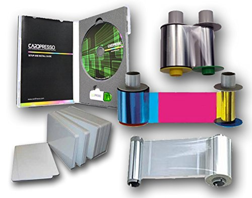 Fargo HDP5000 Supplies Kit: Color ribbon, Laminate, Transfer film, PVC cards, and Design Software by Fargo