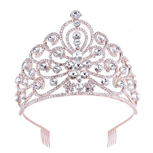 Rose Gold Big Peacock Crystal Prom Pageant Rhinestone Tiara Birthday Party -