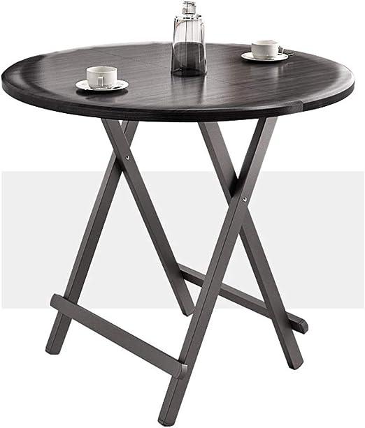 Mesa Redonda Plegable portátil de café Salón Tabla Terraza Snack-Mesa for Comer al jardín de Tabla Mesa de Camping Mesa (Color: Negro, tamaño: 80 * 80 * 74cm): Amazon.es: Jardín