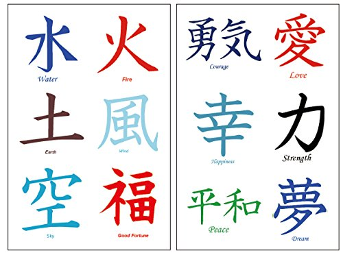 36 Premium Kanji Tattoos: Japanese, Chinese, Asian Characters: Love, Peace. (Kanji Tattoos)