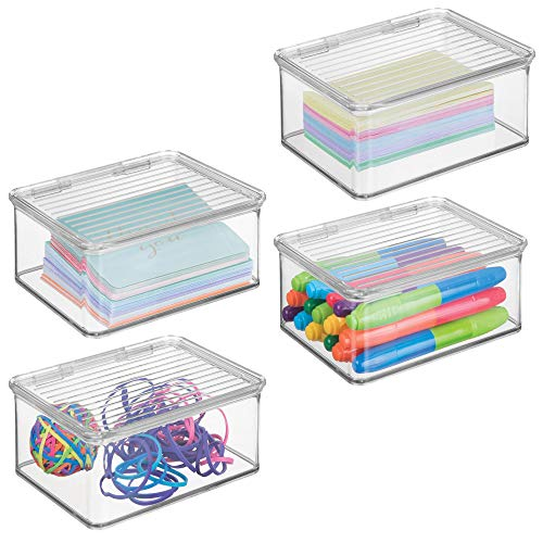 mDesign Small Mini Plastic Stackable Office Supplies Storage Organizer Box with Attached Hinged Lid, Holder Bin for Note Pads, Gel Pens, Staples, Dry Erase Markers, Tape, 4 Pack - Clear
