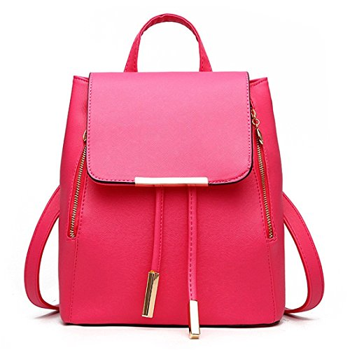 bag PU Ladies Shoulder Leather Bag Fashion Red Girls Travel Backpack Rucksack Women aqxvw0T
