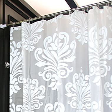 LynnWang Design 72-Inch-by-72 -Inch Floral Shower Curtain with 12 Hooks, White