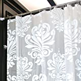 LynnWang Design 72x72 Inch PVC FREE Shower Curtain or Liner,White Floral,With 12 Hooks, 100% EVA