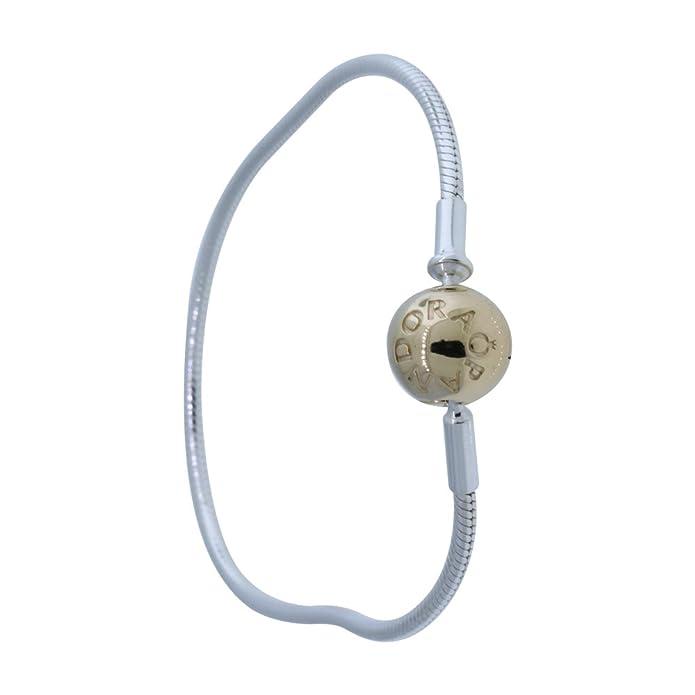 a71fc36ca Amazon.com: 596003-16 Pandora Silver & 14k Gold Essence Collection Charm  Bracelet 6.3