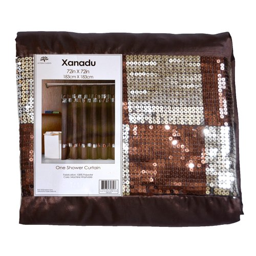 Chocolate Brown Fabric Shower Curtain w/ Brown and Silver Sequin Checked Accent