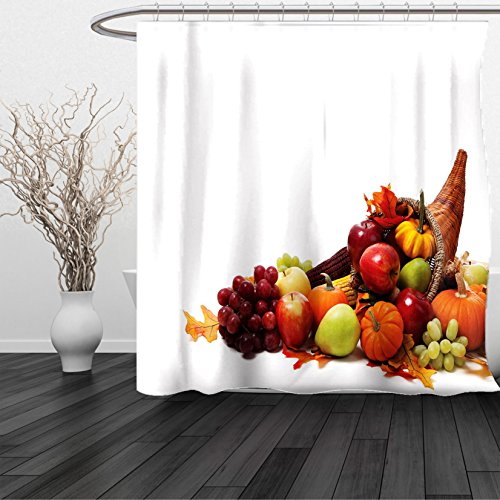 Curly Bamboo Arrangement (HAIXIA Shower Curtain Harvest Fall Arrangement Fruits of the Season in a Cornucopia Bountiful Harvest Corn Multicolor)