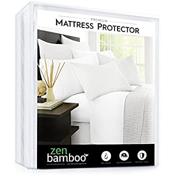 Zen Bamboo Mattress Protector - Best Lab Tested Premium Waterproof, Hypoallergenic, Cool and Breathable Rayon Derived From Bamboo Mattress Protector and Cover - Queen