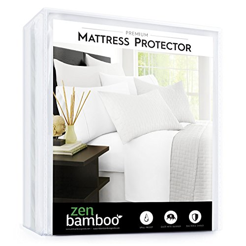 Zen Bamboo Mattress Protector - Best Lab Tested Premium Waterproof, Hypoallergenic, Cool and Breathable Mattress Protector and Cover - Queen