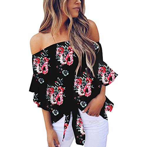 Aniywn Women Summer Off Shoulder Strapless Blouse Floral Print Tie Knot Casual Tops T-Shirt Bell Sleeve Black