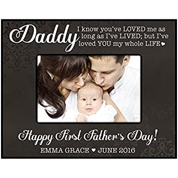 personalized gifts for dad happy first fathers day custom picture frame black