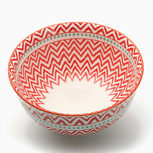5.6 Inch Porcelain Bowls Set of 6, for Cereal Soup Salad, Large and Round -Red
