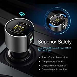 FM Transmitter Bluetooth Radio for Car, In Car Bluetooth Adapter Radio Transmitter Receiver MP3 Player Hands Free Calling for Car Audio Stereo System w USB Car Charger & Voltage Detection by Esolom