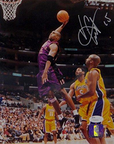 Vince Carter Autographed Raptors 8x10 Dunk Side View PF- JSA Auth Silver ()