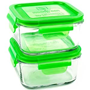 Wean Green Lunch Cubes Glass Food Containers, Pea