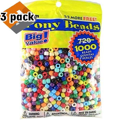 Price comparison product image Darice Pony Beads Multi Color 9mm 1000 Pcs in Bag,  Pack 3