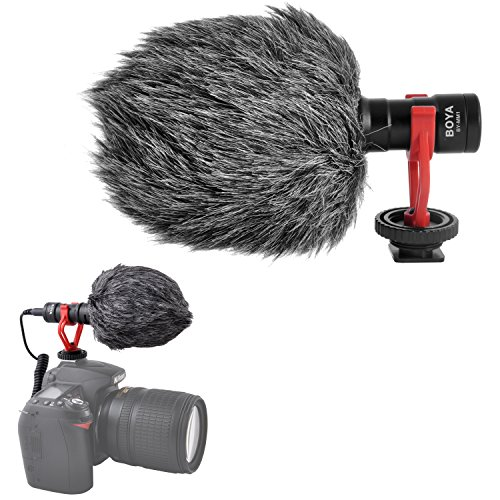 Price comparison product image Super-Cardioid Shotgun Video Microphone- BOYA BY-MM1 Universal Compact On-Camera Mini Recording Mic Directional Condenser for IPhone Android Smartphone Mac Tablet Youtube DSLR Camera Camcorder