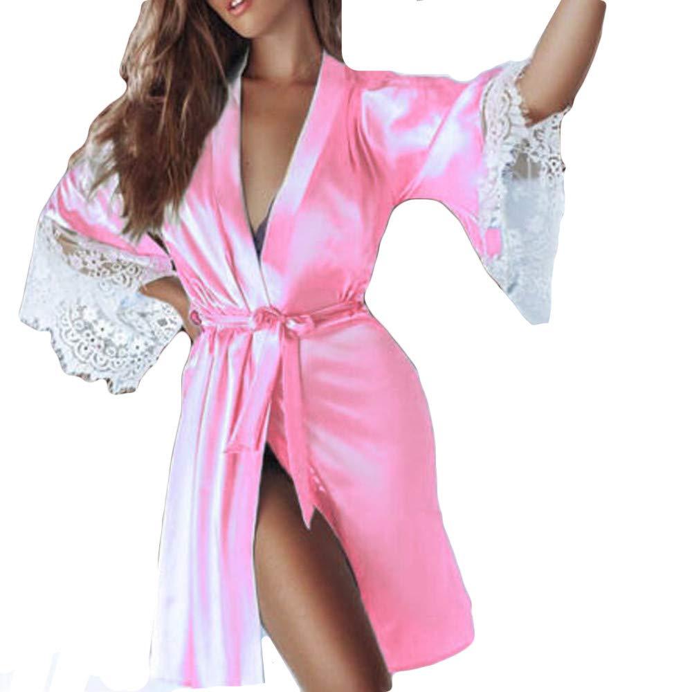 Sonnena Damen Seide Kleid Gown Lang Dessous Kimono Spitze Transparente Robe Mesh mit Gü rtel und G-String Bikini Cover up Spitze Sommer Bat Ä rmel Negligee