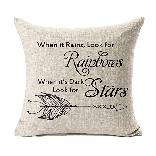 Kithomer Motivational Sign Inspirational Quote Cotton Linen Home Decor Throw Pillow Covers Cushion Cover Sofa Couch 18 x 18 Inch, When It Rains Look for Rainbows When It's Dark Look for Stars