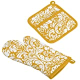 DII 100% Cotton, Machine Washable, Everyday Kitchen Basic, Damask Printed Oven Mitt and Pot Holder Gift Set, Mustard