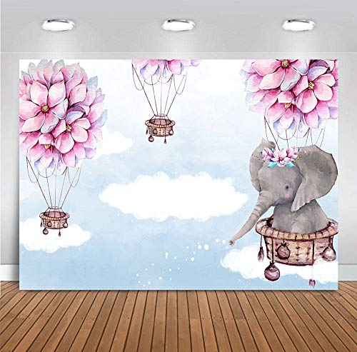 Fanghui 7x5FT Elephant Hot Air Balloon Up Up and Away Photography Backdrop Pink Flower Baby Shower Birthday Party Banner Decoration Supplies Photo Booth Studio Props Vinyl Background ()