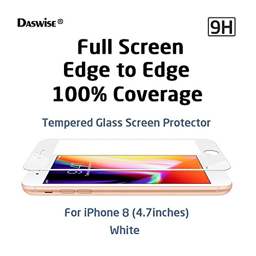 iPhone 8 Screen Protector, Daswise 2017 100% Coverage 3D Curved Tempered Glass Screen Protector, Cover Edge-to-Edge, HD Clear, Bubble-Free, Shockproof, Case Friendly, Easy Installation (4.7 White)
