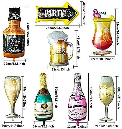 SNAGAROG 8 Piezas Botella de champán Globos de Papel de Aluminio 8 Estilos Forma de Copa de Vino Globos de decoración Botella de Globo de Papel de Aluminio inflado Decoración