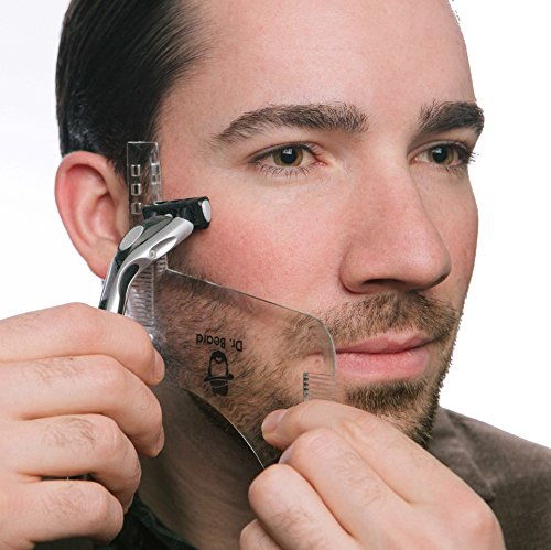 Dr. Beard - Beard shaping tool with inbuilt comb - transparent beard shaper template - works with a beard trimmer, clipper, or razor to style facial hair and beard