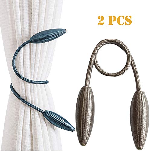 OEXEO Magnetic Curtain Tie Backs,The Most Convenient Drape Tie Backs,2 Pieces Decorative Rope Holdback Holder for Big,Wide or Thick Window Drapes,16 Inch Long (Black) (Rope 1 2 Inch Silk)