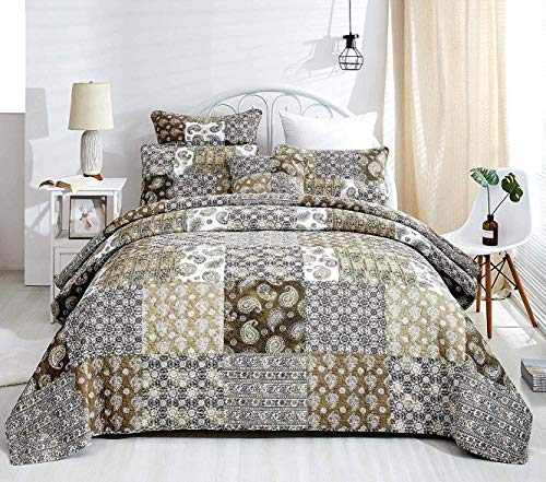 DaDa Bedding Collection Reversible Bohemian Real Patchwork Gallery of Roses Cotton Quilt Bedspread Set, Multi-Colored, Queen, 3-Pieces (Country Bed Collection Cottage Linen)