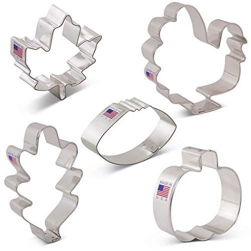 Fall Leaf Cookie Cutter (Fall Thanksgiving Cookie Cutter Set - 5 Piece - Maple Leaf, Turkey, Oak Leaf, Pumpkin, Football - Ann Clark - US Tin Plated Steel)