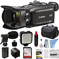 Canon XA30 HD Professional Video Camcorder + Essential Accessory Bundle Kit w/ 64GB Memory + LED Light + Camera Case Bag + Extra Battery Pack + HandGrip Handle + Shotgun Mic + Cleaning Kit